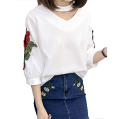 Fashionmall Womens Halter Neck Floral Patch Top