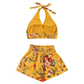 Fashionmall Crop Top Two Piece Shorts Set