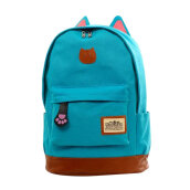 COZIME Men Women Large Capacity Canvas Backpacks Cat Ear Design Students School Bag Light Blue