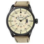 Citizen AW1365-19P Eco-Drive Men Cream Dial Beige Nylon Strap [AW1365-19P]