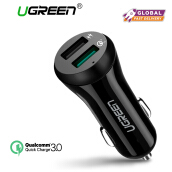 UGREEN QC3.0 Car Charger Quick Charge 3.0 30W Fast Charger for Xiaomi Redmi Samsung Handphone HP with Dual USB Ports Black