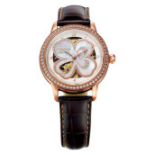 FIYTA Ladies Clover Rhinestone Dial Brown Leather Strap LA8262.GWRD [LA8262.GWRD]