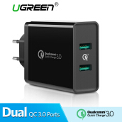 UGREEN QC3.0 Charger Dual QC3.0 Ports 36W Quick Charge 3.0 Fast Charger USB Wall Charger for Samsung, Xiaomi Handphone Black