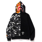 BAPE CITY CAMO TIGER SHARK ZIP HOODIE MENS BLACK