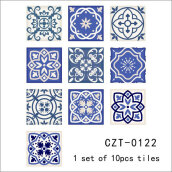 Chinese Blue and White Porcelain Self Adhesive Tile Stickers Blue 10PCS/Bag