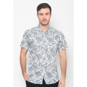FBW Clifton Short Sleeves Print Shirt Daon - Putih Biru