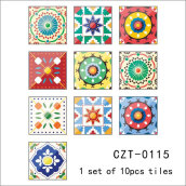 PVC European Vintage Floral Pattern Waterproof Self Adhesive Tile Sticker Multicolor 10PCS/Set