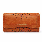 jantens   Leather Long Purse Women Coin Purses Brand Designer Purse Lady Foldable Credit Card Holder Clutch