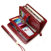 YOOHUI PQ13 lady new wallet ladies zipper wallet ladies wallet wine Red