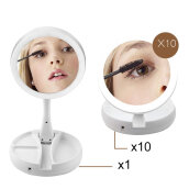 [OUTAD] Double Sided LED Facial Makeup Miror Multi-angle Rotation Mirror White