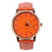 [LESHP]Elegant Simple Designed Women Men Couple Round Dial Quartz Wrist Watches Orange