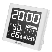 AUGIENB Negative Display Digital Alarm Clock Weather Station with Indoor Humidity/Temperature White