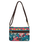 Sakroots Campus Mini Sling Bag Teal Flower Power