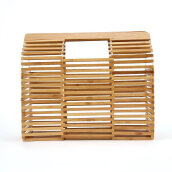 [LESHP]Women Hollow Out Square Bamboo Woven Handbag for Travelling shopping Others
