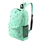COZIME Lightweight Cartoon Printed Women's Backpacks Soft Canvas School Girls Bags Light Green