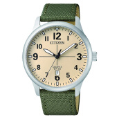 Citizen BI1050-05X Vintage Quartz Watch Beige Dial Stainless Steel Case Green Nylon Strap [BI1050-05X]