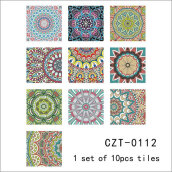 Removable Arabia Style Mediterranean Tiles Waterproof Self-adhesive Stickers Multicolor 10PCS/Set