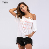 YYFS T-shirt off-the-shoulder