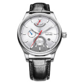 FIYTA Men Yachtsman Automatic Silver Dial Black Leather Strap WGA867001.WWB [WGA867001.WWB]
