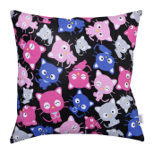 JOYLIVING Cushion Square Kitty Fuchia 40 cm x 40 cm - Pink Black