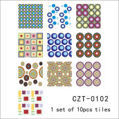 Arabia Style Mediterranean Tiles Waterproof Self-adhesive Stickers Multicolor 10PCS/Bag