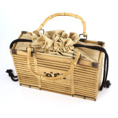 [LESHP]Solid Color Square Bamboo Woven Bag Unique Handbag Women Hollow Out Others