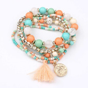 Jantens Women Fashion bracelet Multilayer Beads Bangle Tassels Bracelets beaded tassel bracelet Gift
