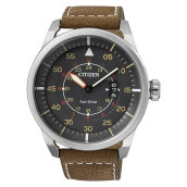 Citizen AW1360-12H Eco Drive Grey Dial Brown Leather Strap [AW1360-12H]