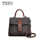 FION PVC & Cow Leather Top Handle Bag - Brown Brown