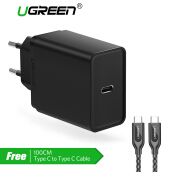 UGREEN Type C PD Charger Quick Charging for Handphone HP + Free 100CM Type C to Type C Fast Charging Data Cord