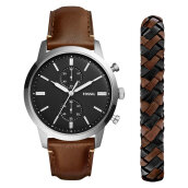 Fossil FS5394SET Townsman Chronograph Men Black Dial Brown Leather Strap + Extra Bracelet [FS5394SET]