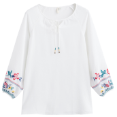 INMAN 1881011058 Blouse Women Embroidery Causal Comfortable White Blouse Shirt