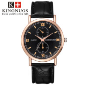 KINGNUOS Business Wrist Watch Men  Top Luxury Brand Famous Quartz Watches For Male Clock Hitam