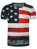Fashionmall Round Neck Distressed American Flag Print T-Shirt