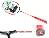 1 Pair Regail 9158 Durable Speed Badminton Racket Battledore Racquet + Carry Bag for Couples Red Red