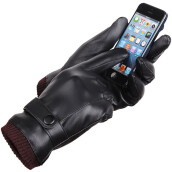SiYing Men's Fashion Leather Imported Touch Gloves-Black