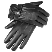 SiYing Men's Fashion Leather Imported Gloves PU Washed Leather Three-Line Gloves-Black