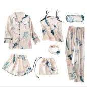Jantens Spring Summer Pyjamas Women Home Wear Pijama Sexy Faux Silk Floral 7 Pieces white