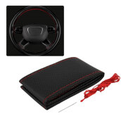 Auto Car Steering Wheel Cover With Needles And Thread Leather Car Covers Suite Black