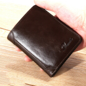 Zanzea Men Genuine Leather Vintage Short Wallet Slim Money Card Holder with 11 Card Slots Coffee