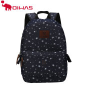 Oiwas Denim Fabric Laptop Backpack Dual Thicken Interlayer Multi-function Monroe Blue
