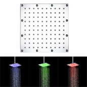 [OUTAD] 8 Inch Square LED Top Shower Spray Head Automatic Color Change Heads Silver