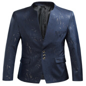 Fashionmall Stand Collar Single Breasted Golden Printed Blazer