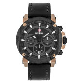 Expedition E 6606 MC LBRBA Chronograph Men Black Dial Black Leather Strap [EXF-6606-MCLBRBA]