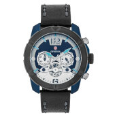 Expedition E 6761 MC LUBBU Chronograph Men Blue Dial Black Leather Strap [EXF-6761-MCLUBBU]