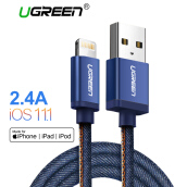 UGREEN 100cm Lightning Cable for Apple iPhone 7/7 Plus iPhone 6/5S/6S iPad iPod MFI Denim Braided Data Sync Cable Blue