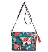 Sakroots Small Crossbody Bag Teal Flower Power