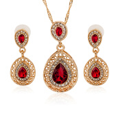 SESIBI 3pc/ set Elegant Water Droplets Shape Crystal Pendant Necklace Earrings Sets Jewelry - Red