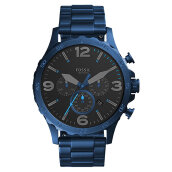 Fossil JR1530 Nate Chronograph Men Black Dial Blue Stainless Steel Strap [JR1530]