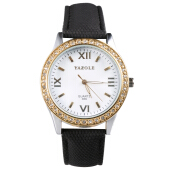 [LESHP]Women's Exquisite Fashion Unique Leather Watchband Watch Women Quartz White Dial Black Band